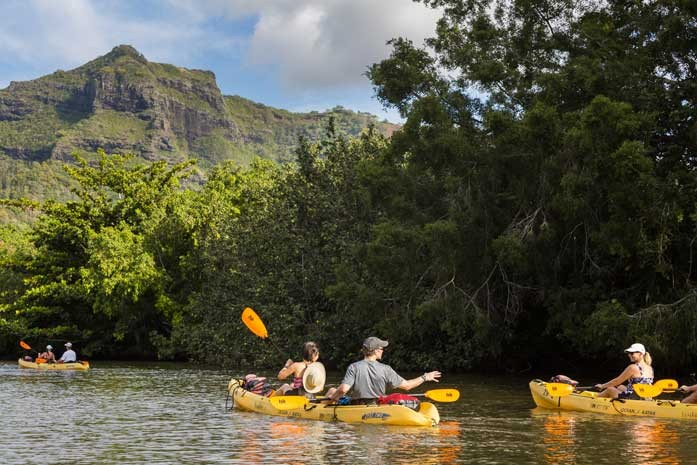 Kayaking on the Wailua River on Kauai