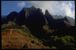 Descending Red Hill into Kalalau Valley